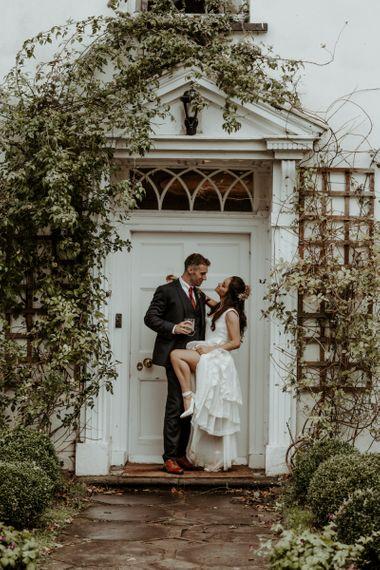 Bride and groom portrait for Welsh September 2020 wedding