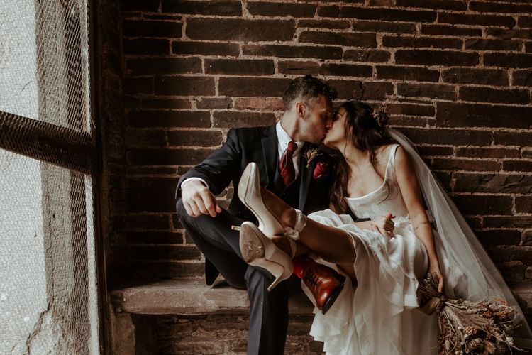 Intimate bride and groom portrait by Jo Greenfield photography