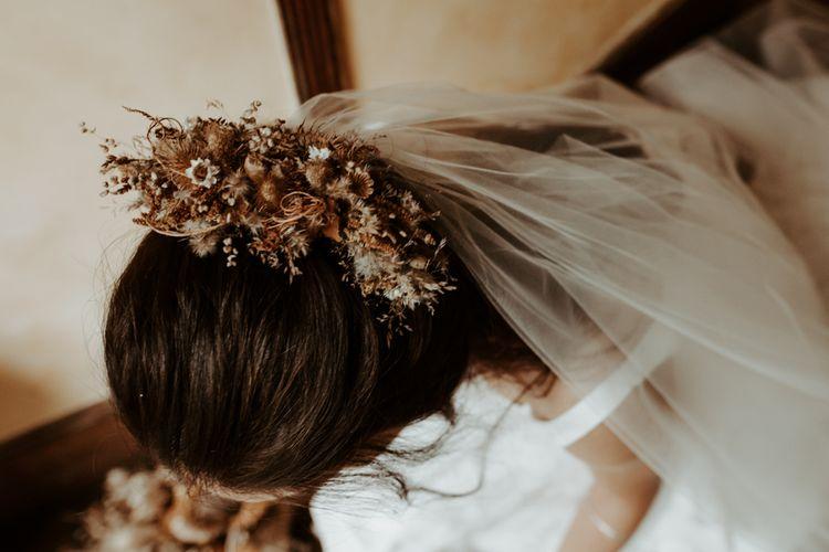 Dried flower wedding hair decor