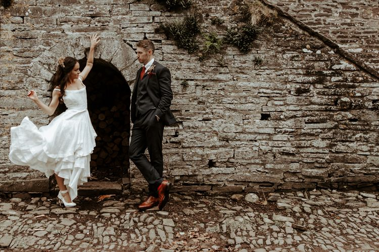 Stylish bride and groom at micro wedding in Wales