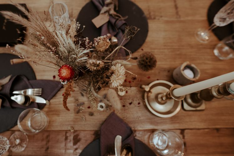 Dried flower wedding centrepiece at September 2020 Wedding