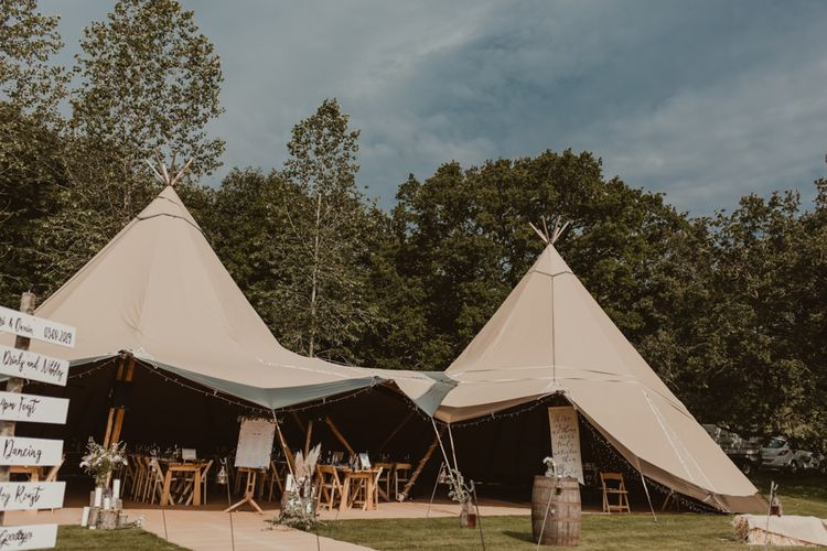 Teepee for wedding at Elmbridge Farm in Worcestershire