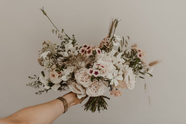 Blush wedding bouquet for bride