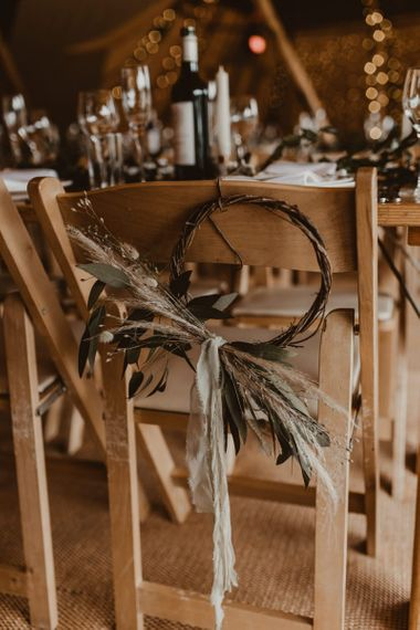 Wedding chair decor at Teepee for wedding reception