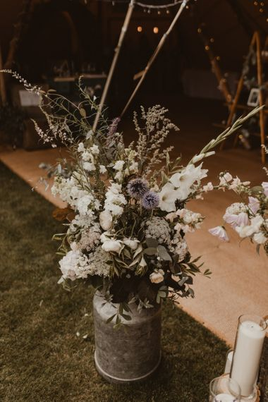 Wedding flowers at Teepee for wedding reception
