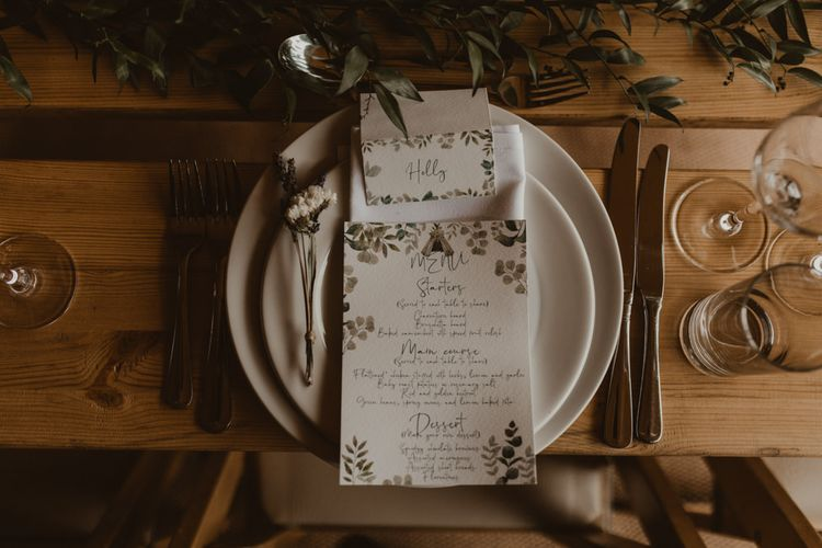 Place setting at teepee wedding