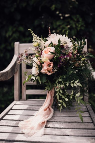Blush Pink and Peach Wedding Bouquet with Foliage and Ribbon