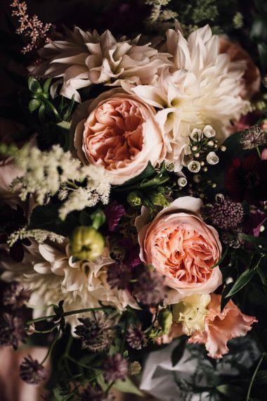 Peach David Austin Rose and White Dhalias Wedding Flowers