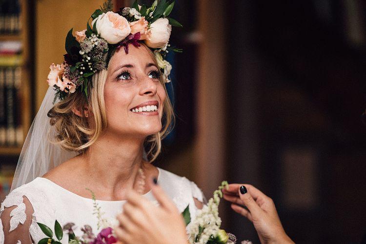 Beautiful Bride iwht Peach David Austin Rose Flower Crown