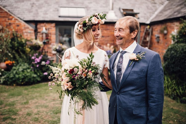 Father of the Bride and Bride in Noble and Wright Separates with Flower Crown