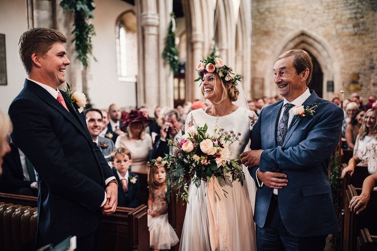 Bride and Groom Meeting at the Altar for the First Time