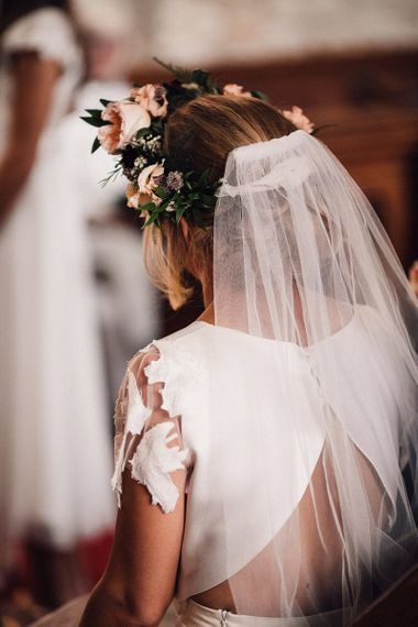 Bride in Noble and Wight Separates, Flower Crown and Wedding Veil