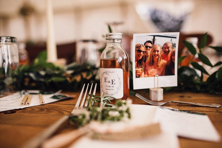 Polaroid Picture Name Place Card and Miniature Alcohol Wedding Favour