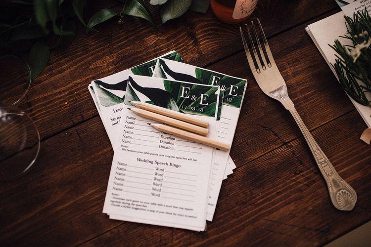 Wedding Speech Bingo and Sweepstake Cards