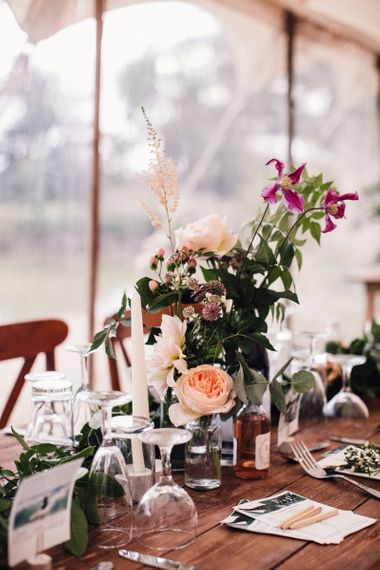 Peach David Austin Roses and Wild Flower Stems as Table Centrepieces