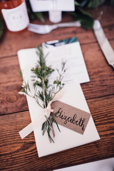 Place Setting with Wild Flower Stem and Craft Paper Name Tag