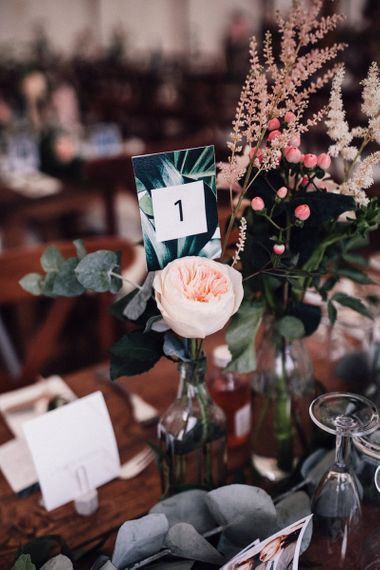 Blush Pink David Austin Rose Flower Stem with Eucalyptus  in Bottle