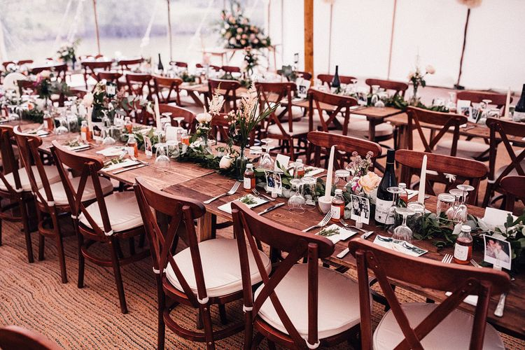 Wooden Table and Chairs with Blush Pink Flowers and Foliage Centrepieces