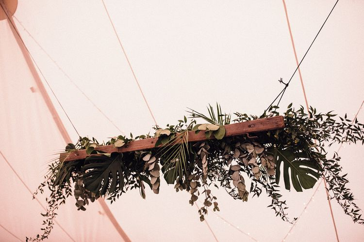 Hanging Foliage Installations with Ferns and Eucalyptus