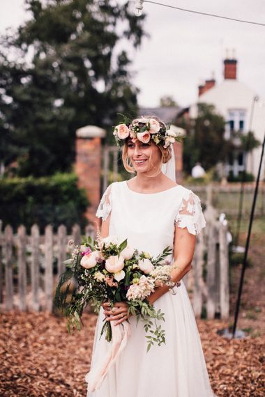 Bride in Noble and Wight Bridal Separates with Blush Pink Flower Crown and  Wedding Bouquet
