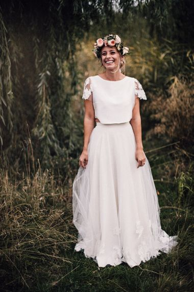 Bride in Noble and Wight Bridal Separates with Blush Pink Flower Crown