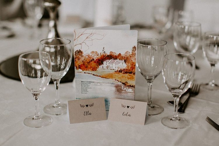 Wedding stationery with watercolour design