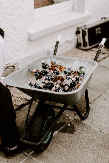 Beer in a wheelbarrow for wedding in Ireland