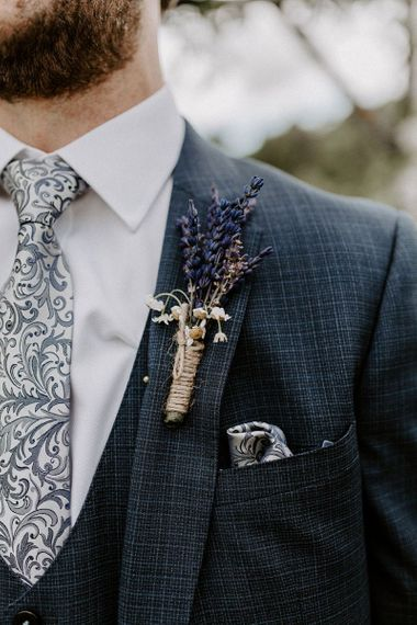 Lavender wedding buttonhole