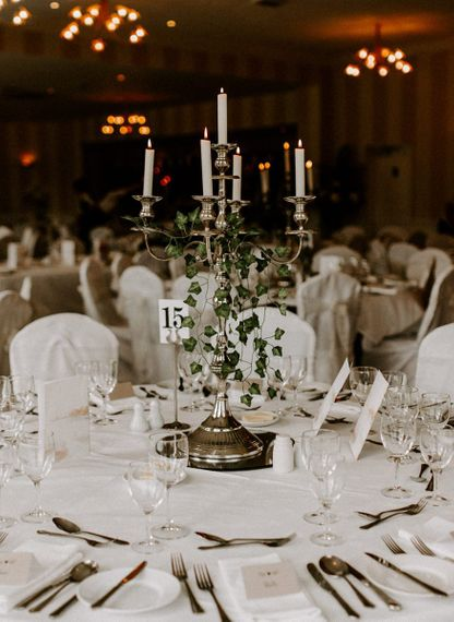 Candelabra for wedding table decor with Ivy