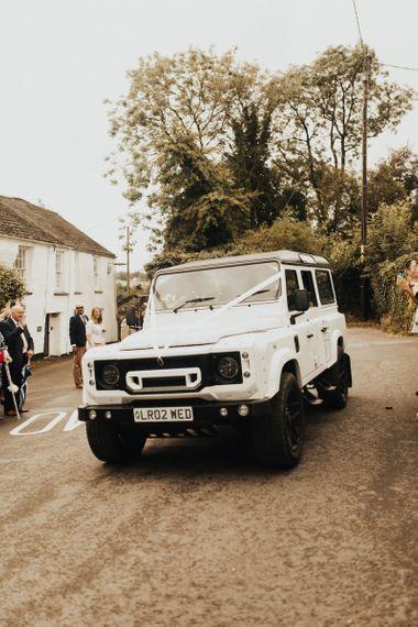 White wedding car at Devon wedding