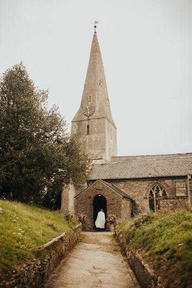 Church wedding ceremony with Eliza Jane Howell wedding dress