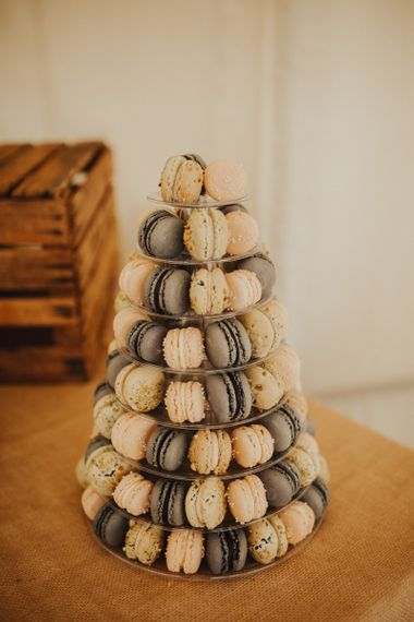 Macaron tower at marquee wedding