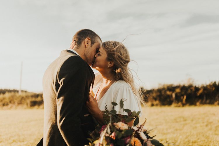 Bride and groom at Devonshire wedding