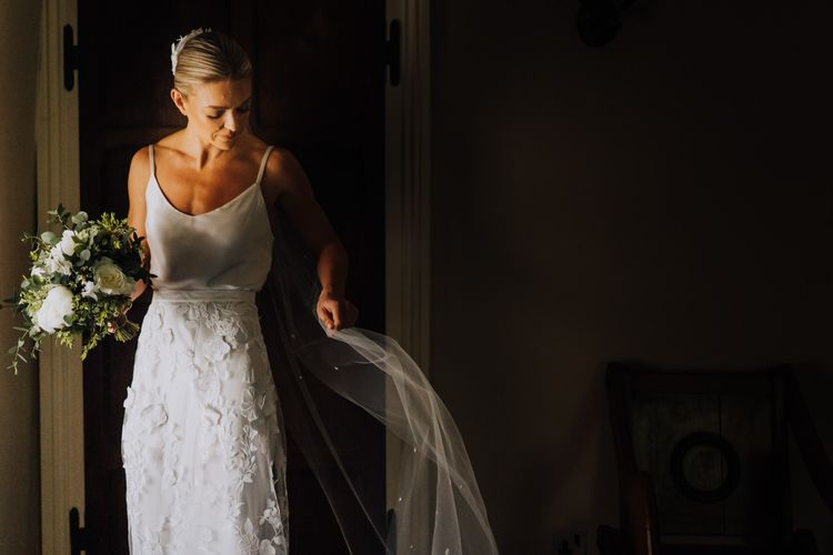 Bridal Two Piece with White Wedding Flowers and Homemade Veil