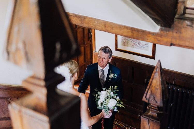 Father of the Bride Greeting with White Wedding Flowers