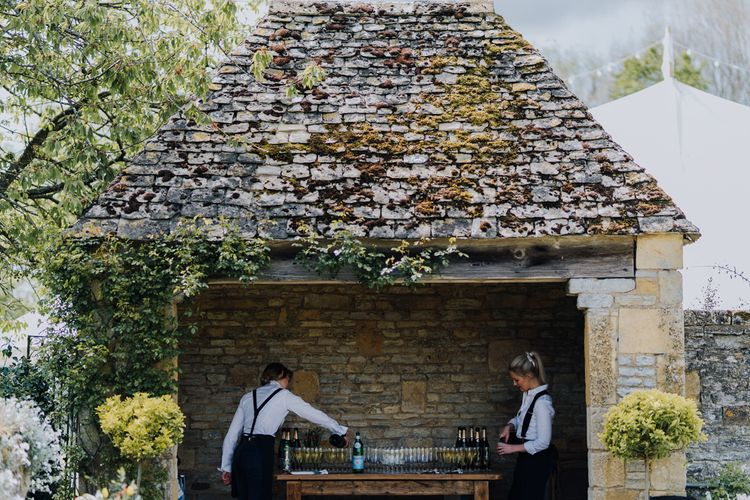 Drinks Served in Country Cotswold Garden for Spring Wedding Reception