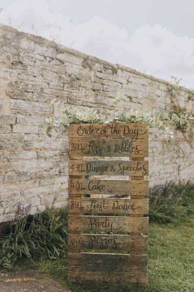 Homemade Pallet Wedding Sign with Cow Parsley Floral Decoration at Garden Party Wedding