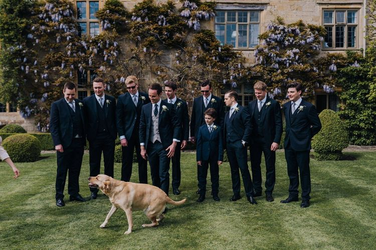 Groom and His Groomsmen at a Spring Garden Party Wedding in The Cotswolds