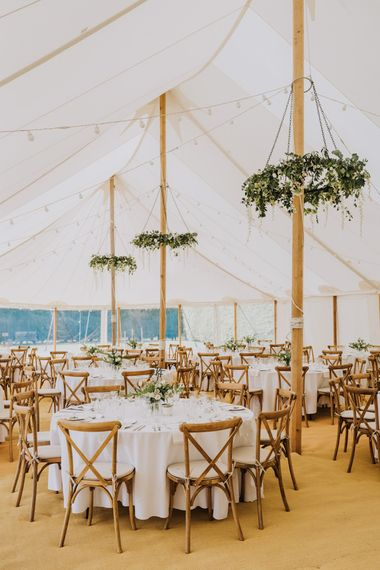 Open Sided Marquee Reception at Garden Party Wedding