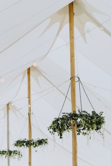 Marquee Reception with Hanging Foliage Chandeliors