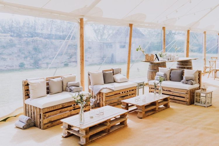 Open Sided Wedding Decor at Rustic Garden Party in The Cotswolds