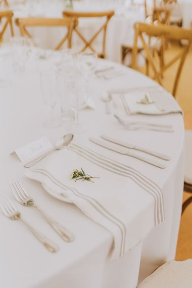 Decor Designed by the Bride in Homemade Calligraphy Table Settings