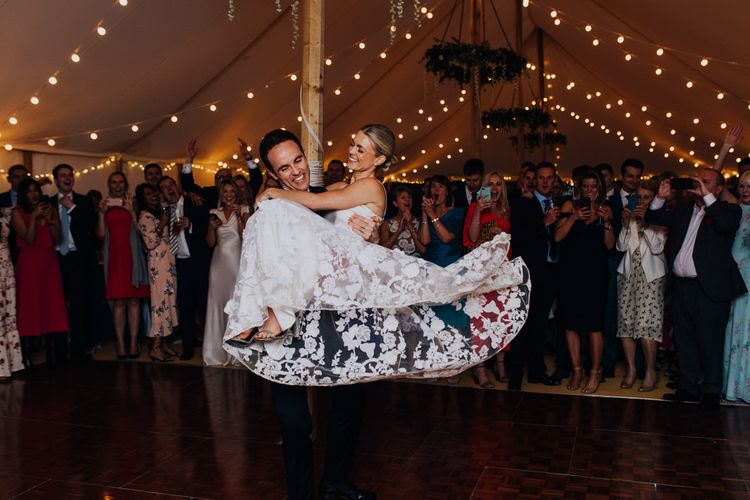 Bride and Groom First Dance with Bridal Two Piece Applique Floral Skirt