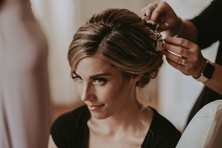 Wedding Morning Bridal Preparations with Bride Having her Hair Done