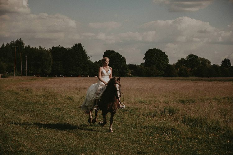 Bride and Going for a Trot on Her Pet Horse