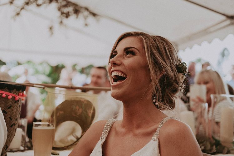 Laughing Bride During Wedding Speeches