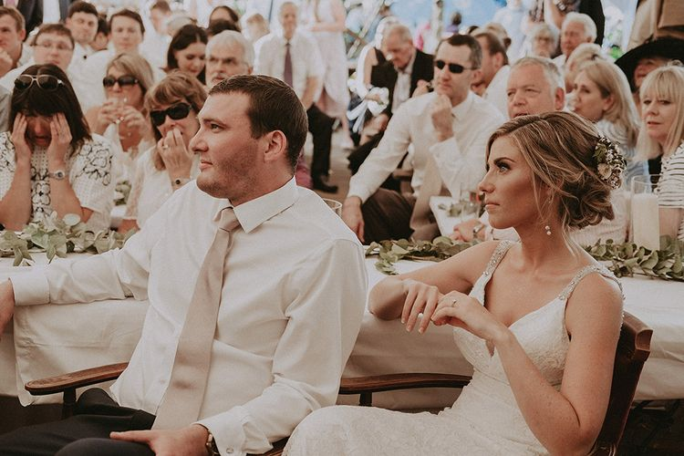 Bride and Groom During Wedding Speeches