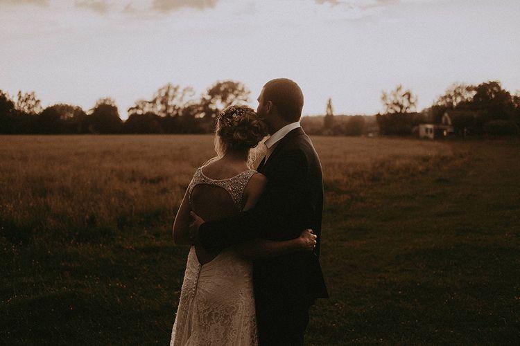 Bride and Groom Golden hour Portrait
