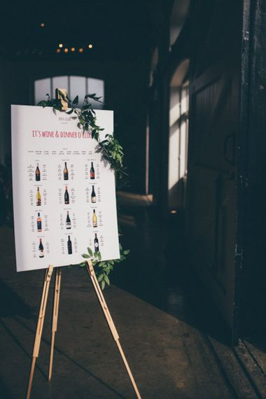 Personalised wine themed table plan with South African vineayards