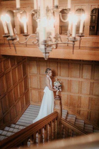 Stella McCartney Wedding Dress With Pink Bouquet